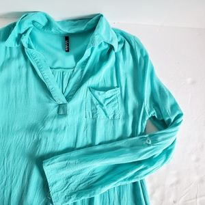 LULU'S Turquoise Pullover V-Neck Tunic M